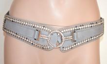 CINTURA GRIGIO donna stringivita strass elastica ecopelle cristalli chiodini G28