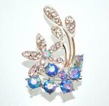 SPILLA donna argento cristalli blu fiore strass brillantini fermaglio elegante CC25