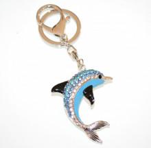 PORTACHIAVI ciondolo donna argento azzurro delfino strass ragazza idea regalo A5