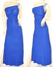 ABITO LUNGO BLU vestito donna CRISTALLI sexy elegante da sera MONOSPALLA cerimonia festa 60X