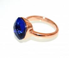 ANELLO BLU ORO ROSA donna CRISTALLO fedina solitario fascia elegante regalo anel ring N76