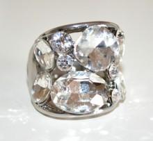 ANELLO donna elastico argento cristalli trasparente pietre a molla elegante BB12