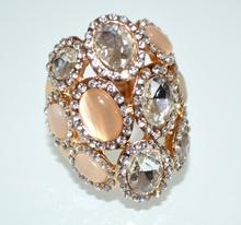 ANELLO donna oro elegante pietre beige cristalli strass trasparenti elastico taglia unica A7