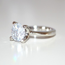 ANELLO donna ragazza fedina argento cristallo bianco brillante strass idea regalo solitario fidanzamento E30