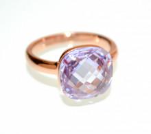 ANELLO LILLA GLICINE LAVANDA oro rosa donna CRISTALLO fedina solitario fascia regalo ring N76