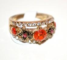 ANELLO oro dorato fedina donna strass cristalli arancio rosa veretta ring obroč A35