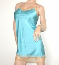 BABY DOLL donna azzurro camicia da notte turchese raso pizzo ricamato beige G115