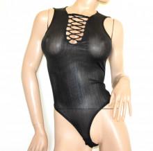 BODY NERO donna sexy laccetti top canotta sottogiacca maglietta giromanica A61