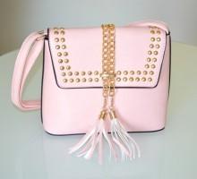 BORSA borsello rosa cipria donna bauletto tracolla catena borchie oro dorate G95