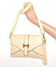 BORSELLO BEIGE AVORIO ORO donna borsa eco pelle pochette tracolla a mano bag sac A20