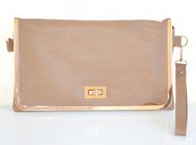 BORSELLO BORSA BEIGE TAUPE pochette donna pelle profilo oro tracolla a mano spalla Z1