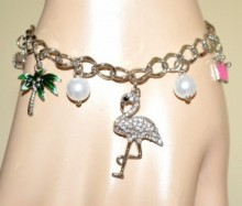 BRACCIALE argento ciondoli donna palma cigno corona perla amuleti strass BB23