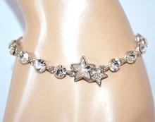 BRACCIALE argento cristalli donna tennis ciondoli stelle strass bigiotteria A56