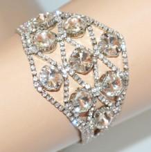BRACCIALE ARGENTO donna CRISTALLI trasparenti strass brillantini elegante Kristalle armband frau S86