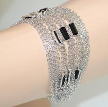 BRACCIALE ARGENTO donna PIETRE NERE ciondoli maglia multi fili catenine bracelet N58