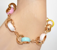 BRACCIALE CIONDOLI donna ORO charms anelli cerchi multicolori smaltati rosa azzurro bianco giallo N75