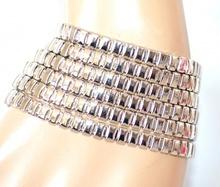 BRACCIALE donna argento elegante polsiera catena multimaglie magnete bigiotteria F250