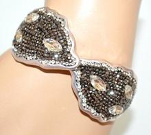BRACCIALE donna argento grigio strass cristalli rigido elastico cerimonia A9