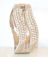 BRACCIALE donna ARGENTO sexy STRASS elegante da cerimonia RIGIDO a schiava cristalli acciaio lucido 45N