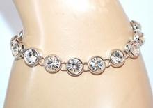 BRACCIALE donna argento tennis cristalli strass bigiotteria bracelet armband A48