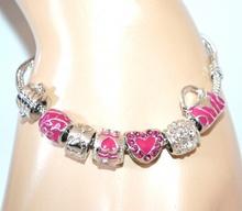 BRACCIALE donna CIONDOLI argento fucsia cuore strass braccialetto idea regalo F160