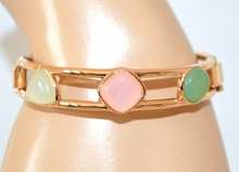 BRACCIALE donna ORO elegante da cerimonia pietre rosa cipria verde avorio dorato rigido bracelet F70