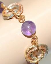 BRACCIALE donna pietre viola lilla glicine anelli oro rosa argento dorato pulsera BB68