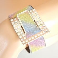 BRACCIALE donna RIGIDO Argento STRASS brillantinato luccicante pulsera bracelet браслет B39