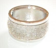BRACCIALE donna rigido argento strass brillantini schiava cristalli elegante F60