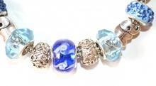 BRACCIALE elegante ARGENTO donna strass CIONDOLI AZZURRI cristalli celesti bracelet 40X