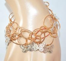 BRACCIALE ORO donna CIONDOLI FARFALLE ARGENTO anelli cerchi dorato bracelet E30