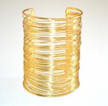 BRACCIALE ORO RIGIDO donna dorato schiava polsiera multi fili sexy tendenza moda 9 cm 840