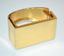 BRACCIALE RIGIDO donna oro dorato lucido a schiava sexy metallo bransoletka A21
