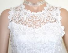 CANOTTA BIANCA top donna pizzo ricamato lacci maglia sottogiacca elegante cerimonia G94