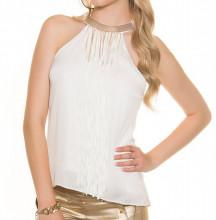 CANOTTA TOP BIANCO ORO donna frange fili collarino maglia sottogiacca t-shirt elegante AZ47