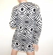 CARDIGAN nero bianco donna maglione aperto tipo lana manica lunga fantasia cappotto girocollo + spilla G80
