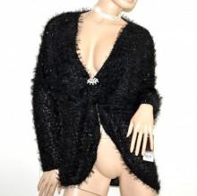 CARDIGAN NERO +spilla donna maglione maglia aperta manica lunga made italy G61