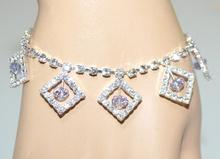 CAVIGLIERA donna argento strass cristalli lilla glicine ciondoli brillantini F30