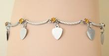 Cavigliera donna estive argento con strass\cristalli ambra e ciondoli a cuore