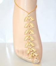 CAVIGLIERA donna ORO gioiello strass piedi baciapiedi cristalli sposa elegante sexy idea regalo E05