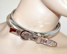 CINTURA ARGENTO donna cinta gioiello metallo stringivita estensibile belt BB38