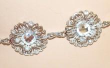 CINTURA GIOIELLO donna ARGENTO fiori cristalli catena metallo strass sposa silver belt G32