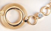 CINTURA GIOIELLO donna ORO dorata elegante treccia cristalli metallo cerimonia festa 06