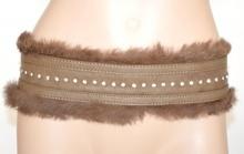 CINTURA MARRONE donna stringivita laccetti bustino brillantini eco pelle pelliccia strass H7