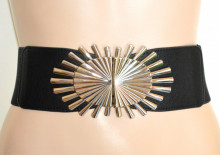 CINTURA NERA fibbia argento donna stringivita cinturone bustino fascia elastica Damengürtel G68