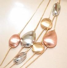 COLLANA argento oro rosa donna girocollo multi fili ciondoli pietre satinate elegante GP5