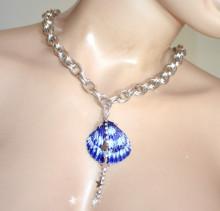 COLLANA donna argento blu azzurro bianco ciondolo conchiglia catena girocollo collar колье PX