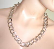 COLLANA donna ARGENTO catena girocollo anelli lucidi necklace catenina colar A45