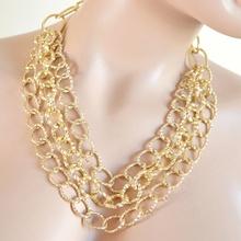 COLLANA donna catena oro dorata diamantata girocollo anelli multi-maglia A48