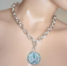COLLANA donna ciondolo pietra CELESTE AZZURRA girocollo argento platino catena anelli medaglione GT2